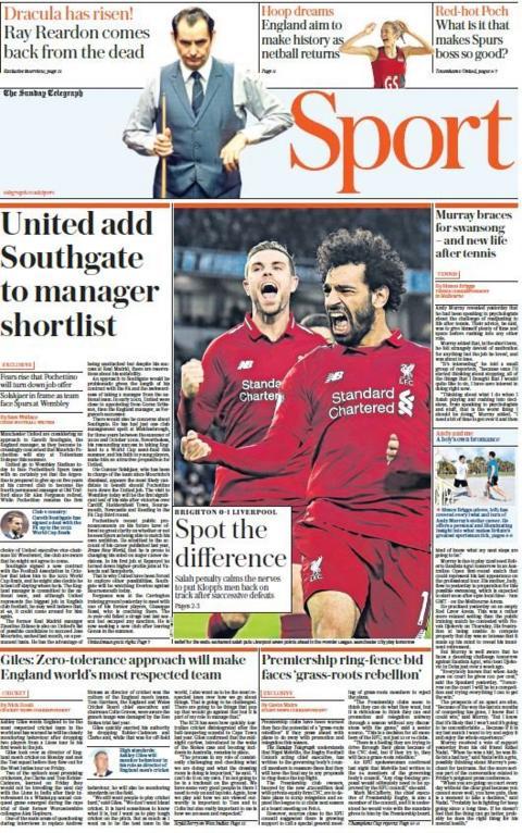 Sunday Telegraph back page