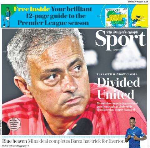 Daily Telegraph back page on Friday