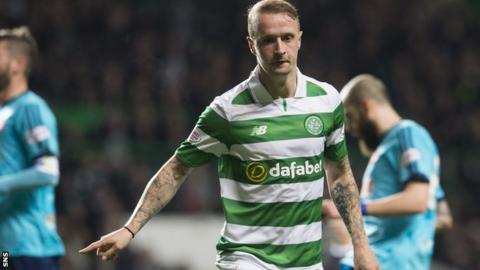 Leigh Griffiths celebrates scoring against Hamilton