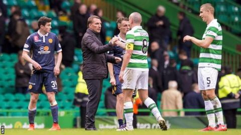 Brendan Rodgers and Celtic and Motherwel players