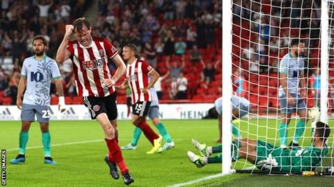 Richard Stearman scores for Sheffield United against Blackburn in the Carabao Cup