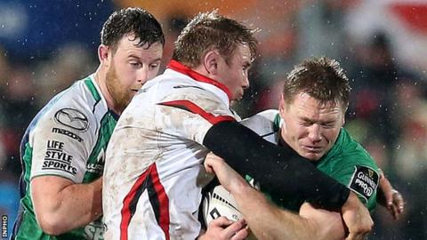 Ulster's Roger Wilson tackles Connacht's Tom McCartney in a Pro12 meeting between the sides two years ago