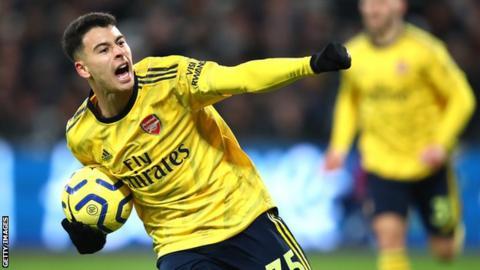 Arsenal forward Gabriel Martinelli celebrates after scoring a goal