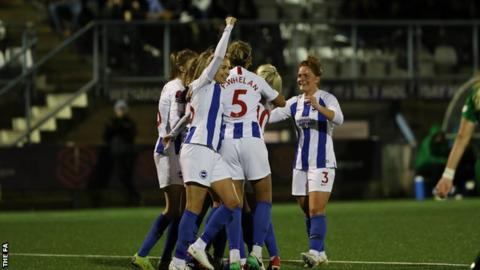 Brighton celebrate Victoria Williams' opening goal