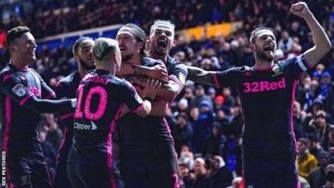 Leeds United celebrate their winner