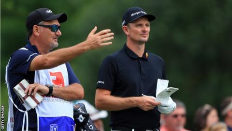 English golfer Justin Rose with former caddie Mark Fulcher