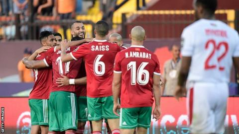Morocco players celebrate their victory over Namibia