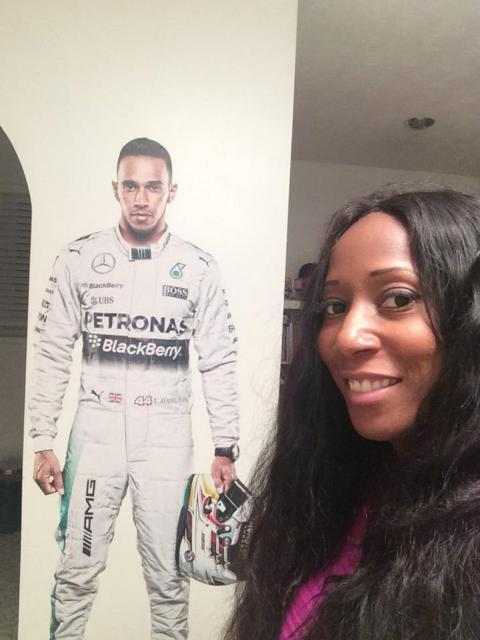 """Desda James: """"A full size Lewis taking pride of place on my living room wall. He's a pioneer, inspirational and brilliant in every way. Yet still humble"""""""