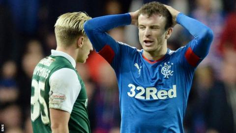 Rangers' Andy Halliday shows his disappointment against Hibs