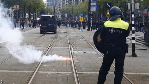 Trouble broke out after Feyenoord's defeat to Rotterdam neighbours Excelsior