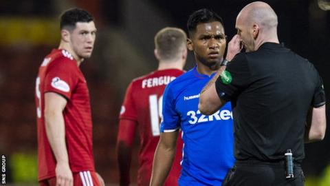 Referee Bobby Madden sent off Alfredo Morelos and Scott McKenna at Pittodrie in February