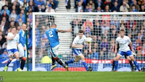 James Tavernier scores for Rangers against Peterhead