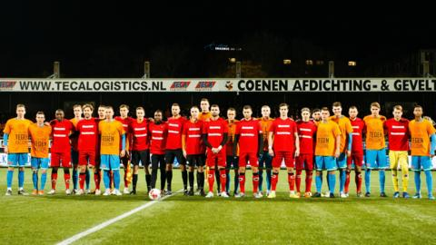 Excelsior and Volendam players stand still for the first minute of their second division match