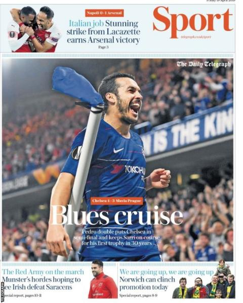 Friday's Telegraph back page