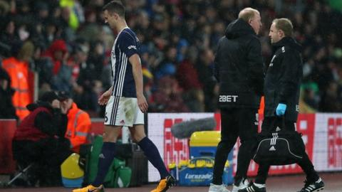 Jonny Evans was replaced during the first half of West Brom's defeat at Southampton on Saturday
