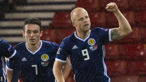 Steven Naismith celebrates scoring Scotland's second goal against Albania
