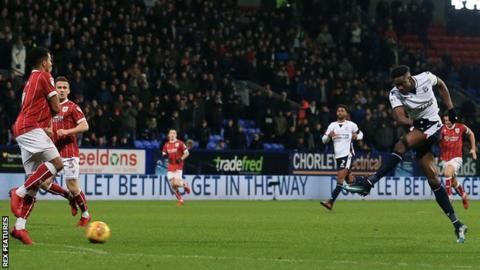 Sammy Ameobi opens the scoring for Bolton against Bristol City