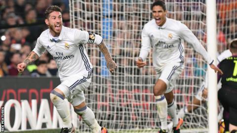 Sergio Ramos (left) celebrates scoring for Real Madrid against Barcelona