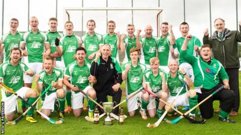 Beauly celebrate their Balliemore Cup final victory