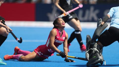 London, England, 24 July: Motomi Kawamura of Japan looks dejected after her shot goes wide during the FIH Women's Hockey World Cup Pool D game against New Zealand at Lee Valley Hockey and Tennis Centre. (Photo by Christopher Lee/Getty Images)