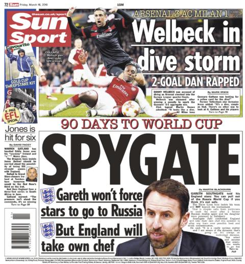Sun back page on Thursday