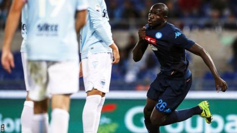 """Napoli""""s Kalidou Koulibaly celebrates scoring against Lazio"""