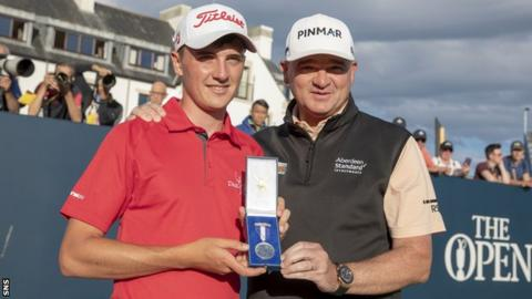 Sam Locke alongside Paul Lawrie with the Open Championship Silver Medal