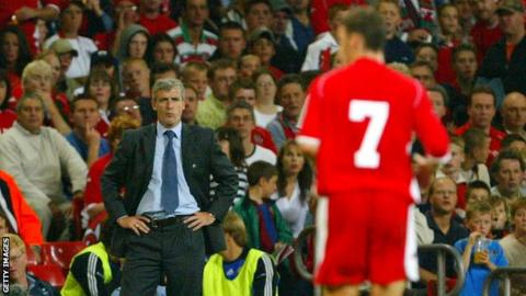 Mark Hughes on the touchline as Wales manager