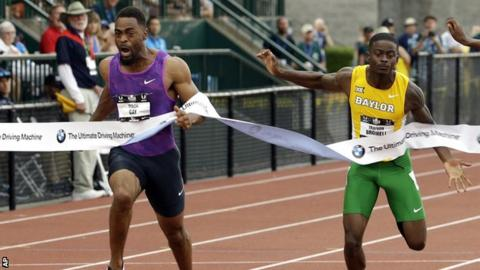 Tyson Gay edges out Trayvon Bromell