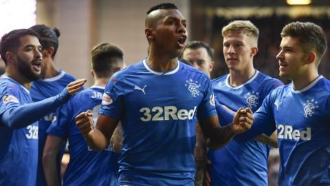 Alfredo Morelos scores for Rangers against St Johnstone