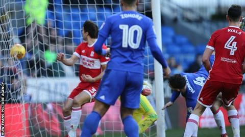 Sean Morrison heads Cardiff City into the lead against Middlesbrough