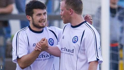 Dale Hilson (left) celebrates a goal for Forfar Athletic