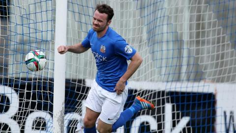 Summer signing Andy Hall scored the first of Glenavon's three goals against the Bannsiders