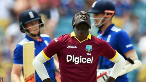 West Indies bowler Jonathan Carter looks to the heavens in anguish