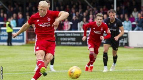Curtis Main scored his first Aberdeen goal from the penalty spot