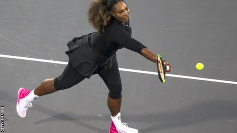 Serena Williams in action in Abu Dhabi