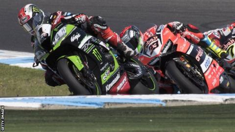 Jonathan Rea leads the field during Saturday's first race in Australia