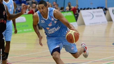 Kieron Achara playing basketball for Glasgow Rocks