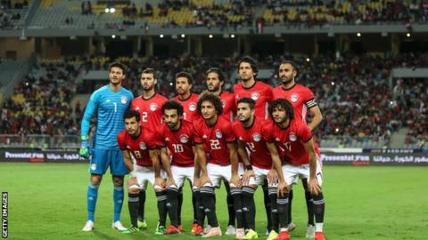 Egypt ahead of a match at the Borg Al Arab stadium