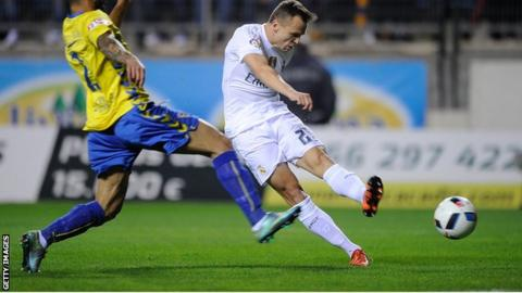 Denis Cheryshev scores Real Madrid's opening goal in their Copa del Rey Cup win at Cadiz