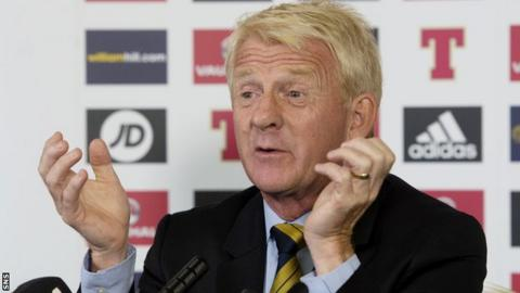 Gordon Strachan speaks to the media after naming his Scotland squad to face Malta
