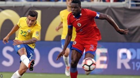 Philippe Coutinho scores against Haiti