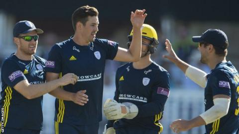 Liam Dawson, Chris Wood, Lewis McManus and Rilee Rossouw of Hampshire celebrate taking the wicket of Daniel Bell-Drummond of Kent during the One-Day Cup match between Hampshire and Kent in June