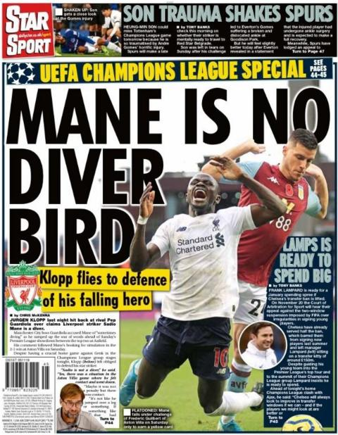 The back page of the Star