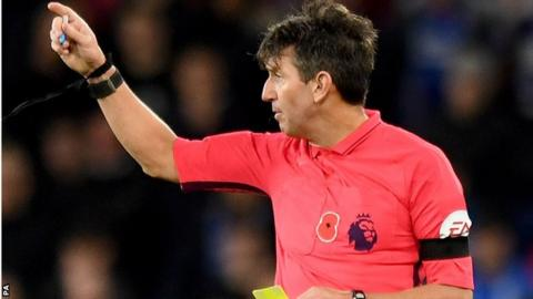 Referee Lee Probert showed a yellow card to Demarai Gray after Leicester's 55th-minute winner