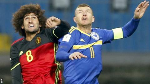 Marouane Fellaini in action against Bosnia-Herzegovina on Saturday