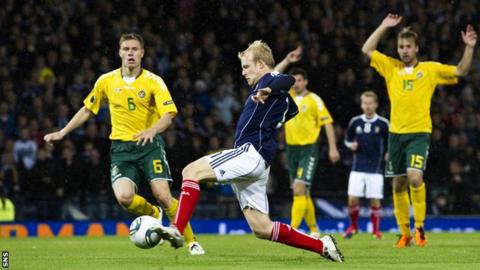 Steven Naismith scores against Lithuania in 2011
