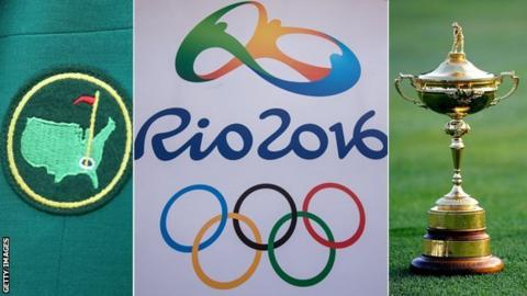 The Masters logo, Rio Olympics logo and Ryder Cup trophy