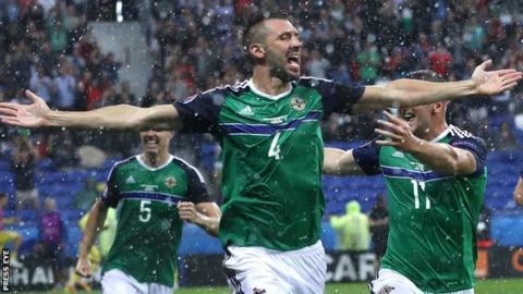 Gareth McAuley celebrates after scoring for Northern Ireland against Ukraine in the Euro 2016 finals