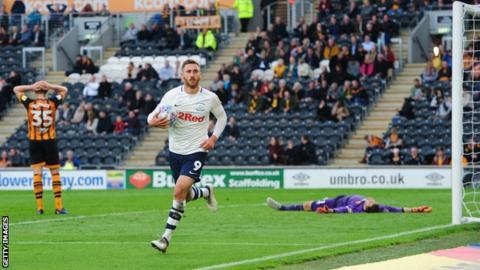 Louis Moult celebrates his late goal for Preston